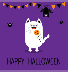 Spooky frightened cat holding pumpkin face on vector