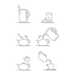 tea brewing thin line set vector image vector image