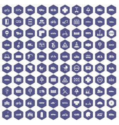 100 road icons hexagon purple vector