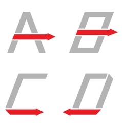 A B C D letters vector