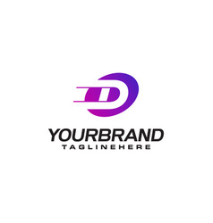 Abstract letter d logo with fast speed lines fast vector