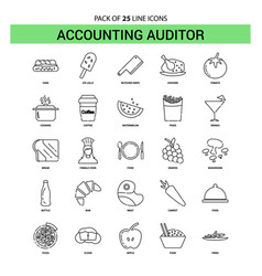 Accounting auditor line icon set - 25 dashed vector