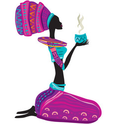 African woman in ethnic dress with cup in hands vector