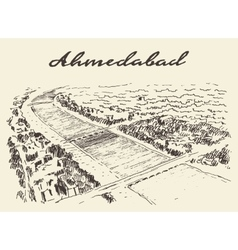 Ahmedabad skyline drawn sketch vector