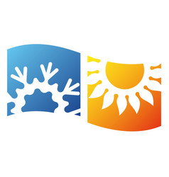 Air conditioning sun and snowflake symbol design vector