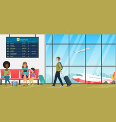 Airport passenger terminal with waiting room with vector