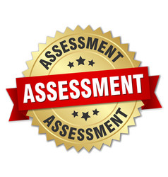 assessment round isolated gold badge vector image