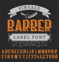 Barber label font poster vector