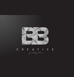 Bb b b letter logo with zebra lines texture vector