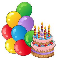 birthday theme with cake 1 vector image
