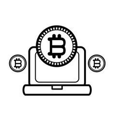 Bitcoin with computer black and white vector