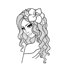 Black and white of a girl with a flower in h vector image