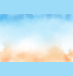 blue sky and sand beach watercolor background vector image