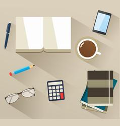 Books on desktop with helper tools vector