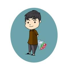 boy flower vector image