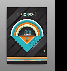 Brochure design template half circle on dark vector
