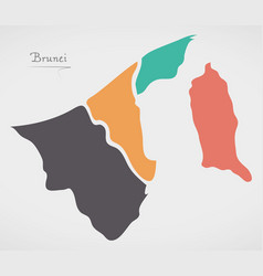 Brunei map with states and modern round shapes vector