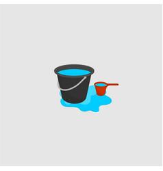 Bucket and water dipper vector