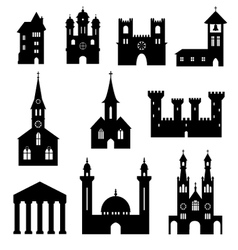 buildings - silhouette set churches and castles vector image