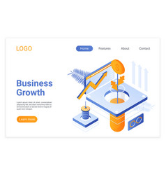 business growth isometric landing page template vector image