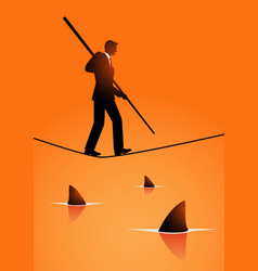 businessman walking on rope with sharks underneath vector image