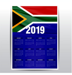 Calendar 2019 south africa flag background vector