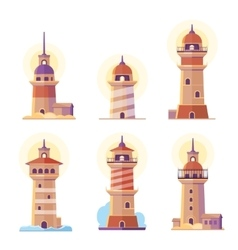 Cartoon lighthouse icons vector
