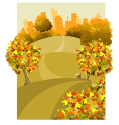 Cartoon round the land with houses in the autumn vector
