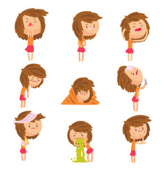 cartoon unhappy girl suffering from pain with vector image