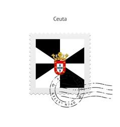 Ceuta Flag Postage Stamp vector image