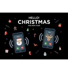 Christmas Greeting Card with phone call from Santa vector image