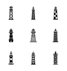 Coastal lighthouse icons set simple style vector