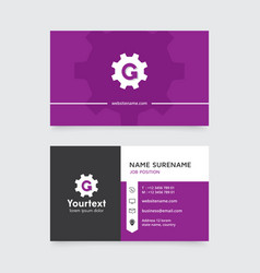 Creative business card design with purple color vector