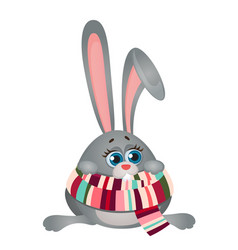 cute frozen cartoon poor thing bunny in striped vector image