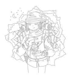 cute hand draw coloring page with wanderer girl vector image