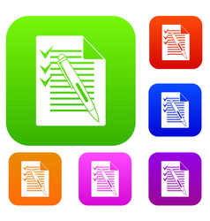 document with plan and pen set collection vector image