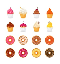 Donut cupcake icon vector image