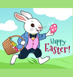 easter bunny running in field with basket of eggs vector image
