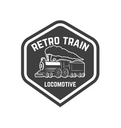 emblem template with vintage train design element vector image