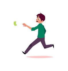 flat office worker man running for money vector image