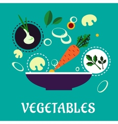 Flat vegetarian salad with fresh vegetables vector image
