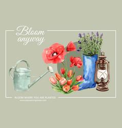 Flower garden frame design with poppy vector
