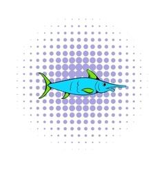 Fresh fish icon comics style vector