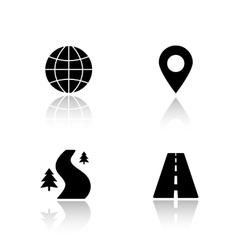 Gps map navigation drop shadow icons set vector image