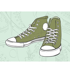 Green Sneakers vector image