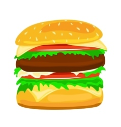 Hamburger food closeup vector image