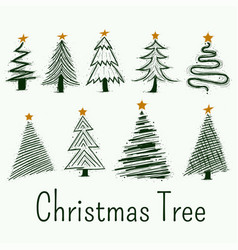Hand drawn christmas tree symbols set vector