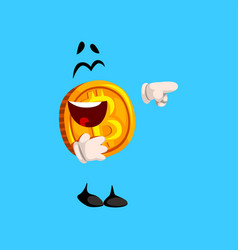 Happy laughing bitcoin character pointing at vector