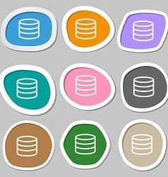 Hard disk and database icon symbols Multicolored vector image