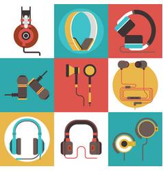 headphone seamless pattern headset vector image